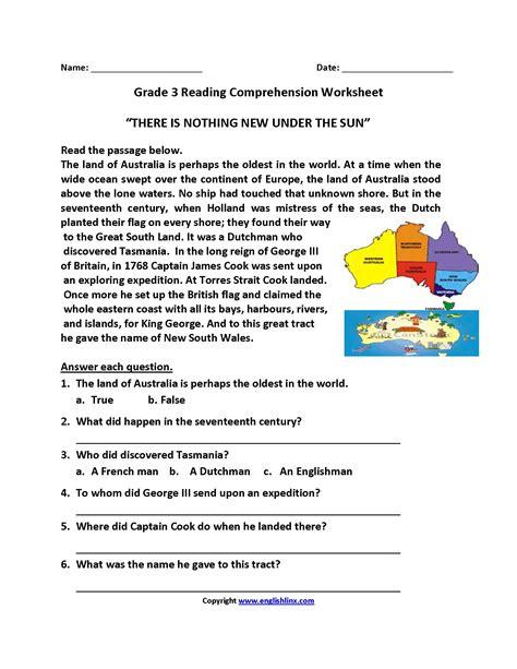reading comprehension worksheets grade 3
