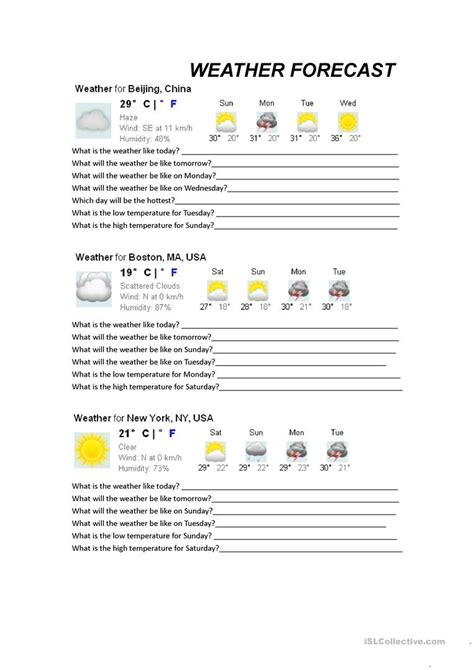 weather forecasts worksheet free esl printable worksheets teachers