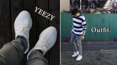 adidas yeezy triple white outfit with yeezy 350 v2 white ft mint crew mnml la ootd 124