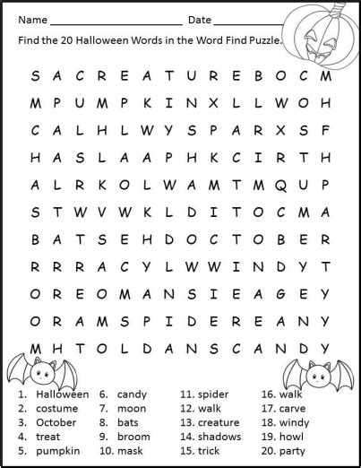halloween worksheets print