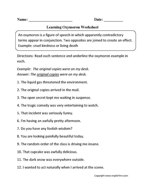 Free Worksheets For 5th Grade Figurative Language.html