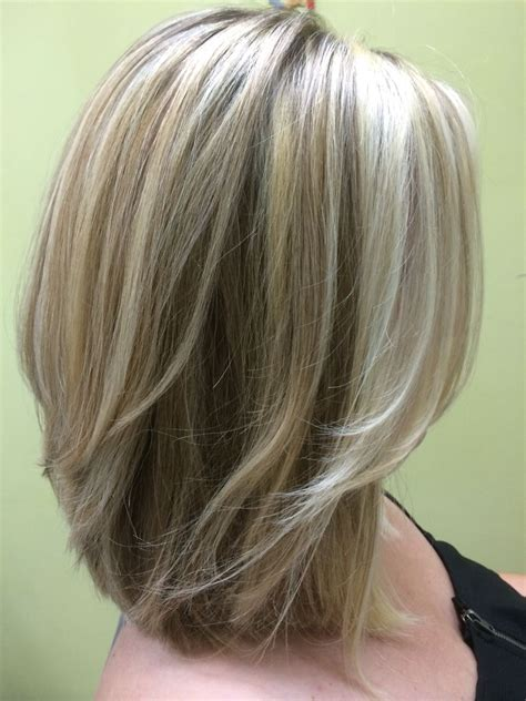 shades blonde shoulder length layered bob medium length
