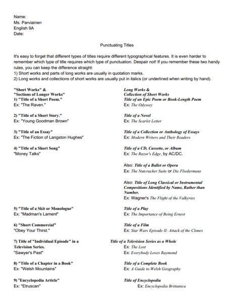 punctuating titles worksheet 8th 9th grade lesson planet