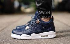 air 4 premium obsidian navy white sneaker bar detroit - Jordan 4 Premium Obsidian On Feet