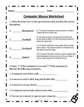 computer mouse worksheet deans ink teachers pay teachers