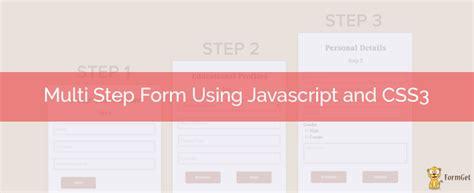 create multi step form javascript css3 formget