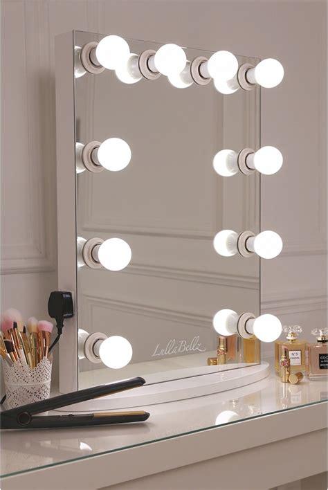simplistic crisp white finish embedded hollywood light mirror