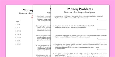 money word problems polish translation polish money word