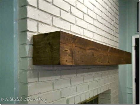 rough hewn wood diy fireplace mantel addicted 2