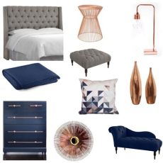 navy blush copper bedroom 17 likes 5 comments homeglitz on instagram if you the space i recommend a chaise