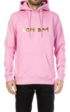 soulland hoodie soulland cotton logic hoodie pink for lyst