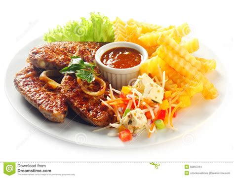 gourmet main dish fried meat potato fries stock