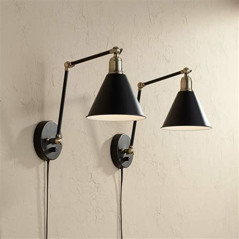 wray black antique brass plug wall set