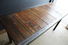 rustic metal trim for furniture custom 22 quot x44 quot industrial dining table with steel trim and hammered steel rectangular legs