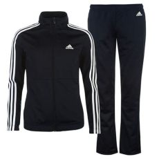 adidas tracksuit bottoms girls adidas womens back 2 basics 3 stripes tracksuit sports elastic bottoms zip top ebay