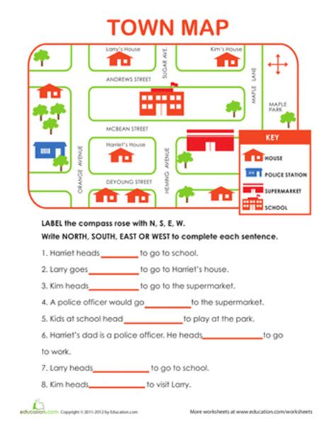 learning directions teaching maps social studies worksheets social