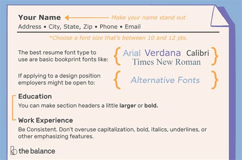 font size type resumes