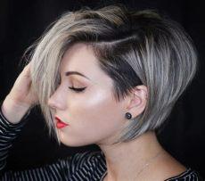 graue strahnen in dunkle haare farben damen kurzhaarschnitte 2018 die ein statement setzen absolut in sind
