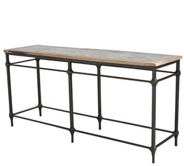 reclaimed wood top sofa console table wrought iron