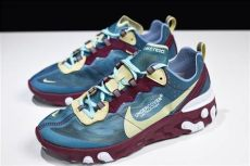 nike air max 87 element undercover x nike react element 87 blue gold running shoes aq1813 341