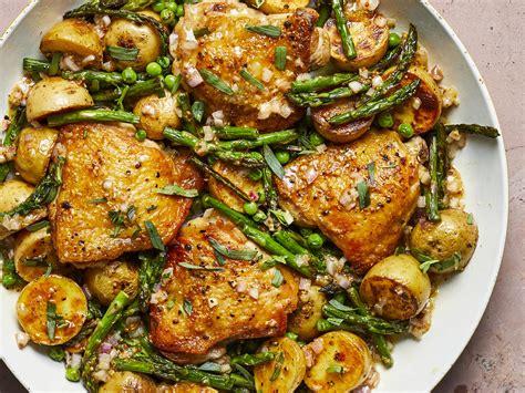 skillet chicken thighs spring vegetables shallot vinaigrette recipe