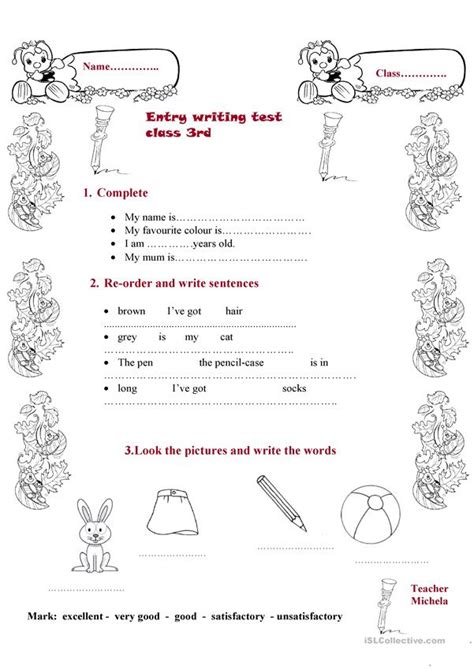 entry writing test class3 english esl worksheets distance