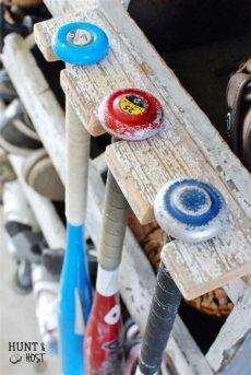 diy baseball bat rack storage solution hunt and host - Baseball Bat Rack Diy