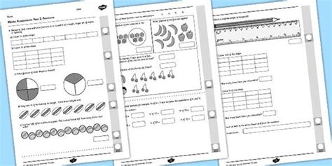 year 2 maths assessment fractions images math assessment