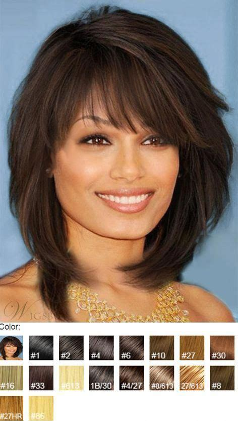 sweet layered bob hairstyle mid lenght straight capless