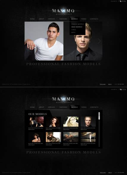 model agency html5 photo video gallery template