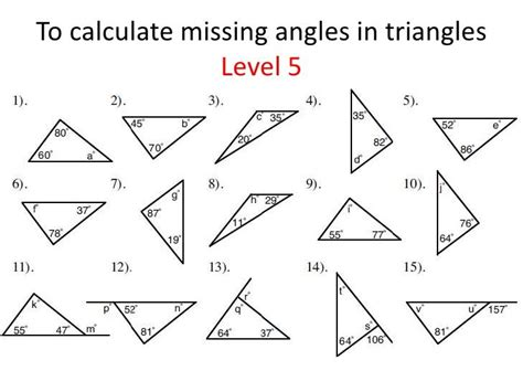 triangles identifying finding missing angles triangle worksheet angles
