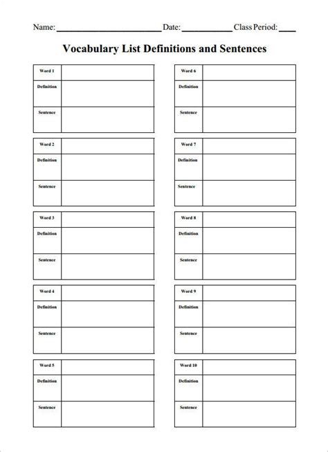 8 blank vocabulary worksheet templates word vocabulary worksheets