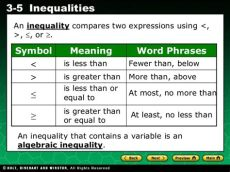 at least symbol in inequalities inequalites what are they