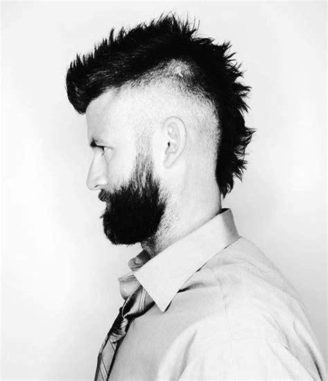 faux hawk fade haircut men 40 spiky modern