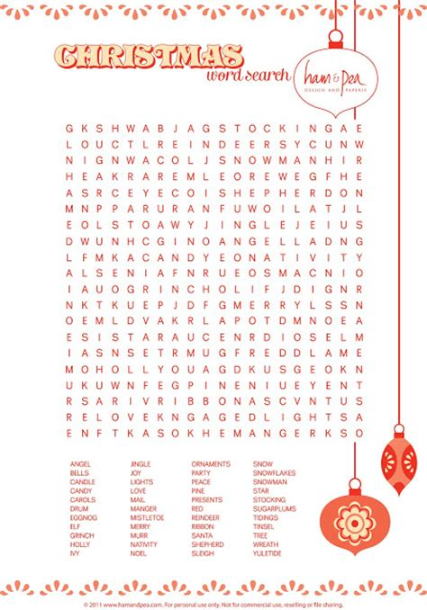 lovely day free christmas word search