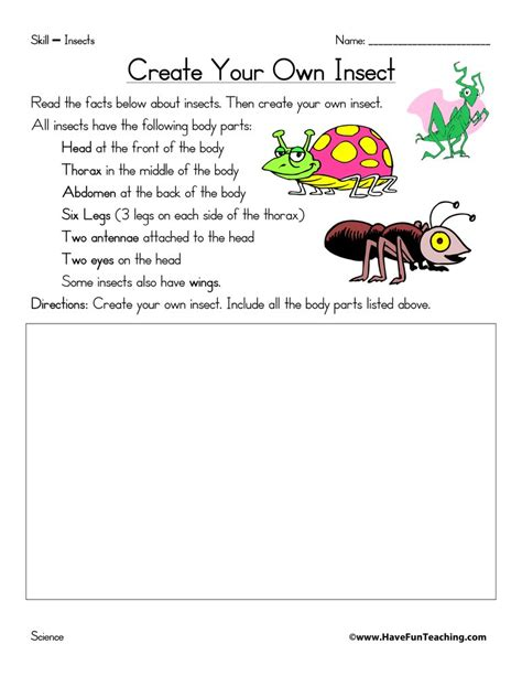create insect worksheet fun teaching