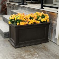 home depot patio planters mayne 20 in x 36 in espresso fairfield polyethylene patio planter 5826 es the home depot