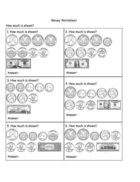 6 images simple money worksheets money identification worksheets