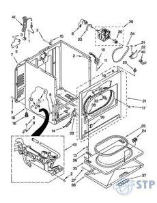 partes de secadora whirlpool stp appliances diagrama gabinete 7ewgd1510ym1 secadora whirlpool