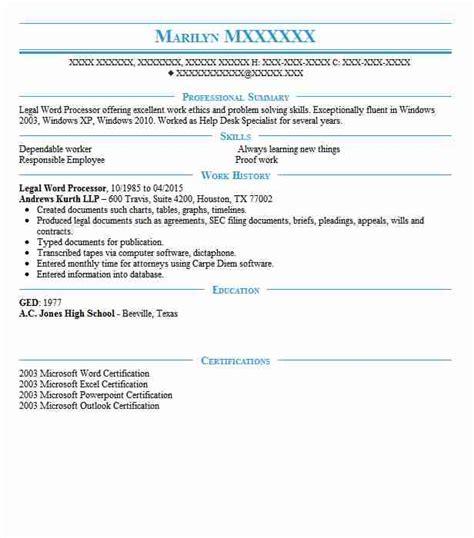 legal word processor resume sle processor resumes livecareer
