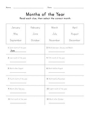 months year worksheet education