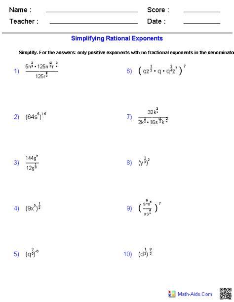 simplifying rational exponents worksheets exponent worksheets algebra text