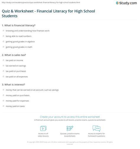 quiz worksheet financial literacy high school students study