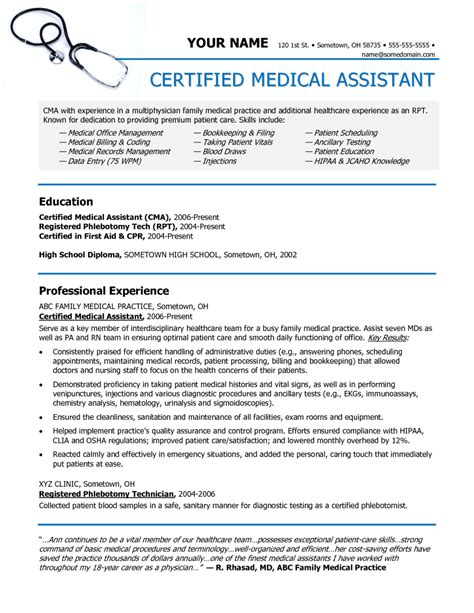 12 medical assistant resume sles experience zm sle