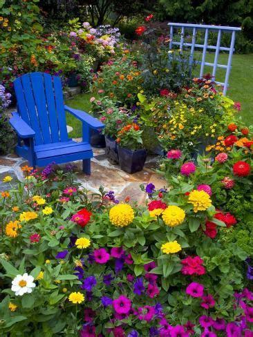 backyard flower garden chair photographic print darrell gulin
