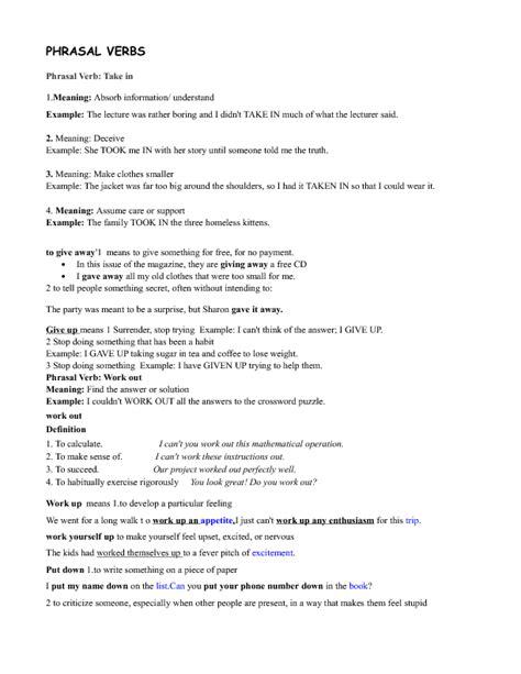 174 free phrasal verbs worksheets