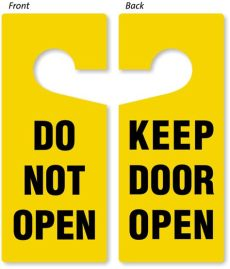 do not open keep door open two sided door hanger signs sku tg 0929 - Lxterminal Keep Open