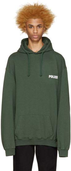 vetements green polizei hoodie vetements green polizei hoodie in green for lyst