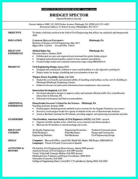 civil engineering resume sles download good effective