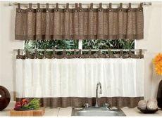 cortinas de cocina vianney 2018 juego de 2 cortinas de cocina avellana a botones vianney 658 00 en mercado libre